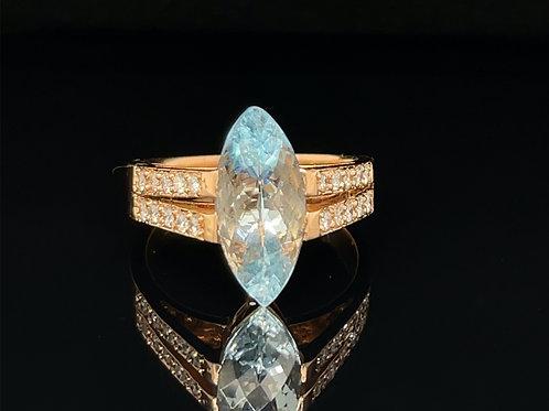 Aquamarine and Diamond  18ct  Rose Gold Ring