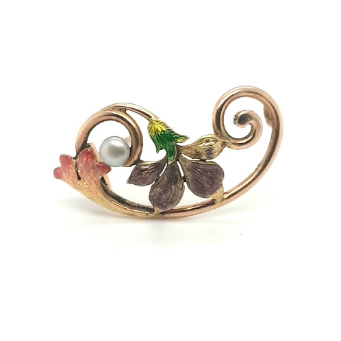 Floral Enamel Brooch 9ct Yellow Gold