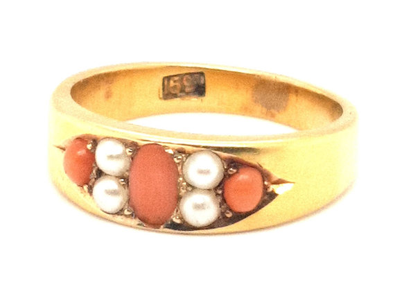 Vintage 15ct Coral and Pearl Ring