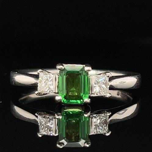 Tsavorite Garnet and Diamond Ring 18ct White Gold