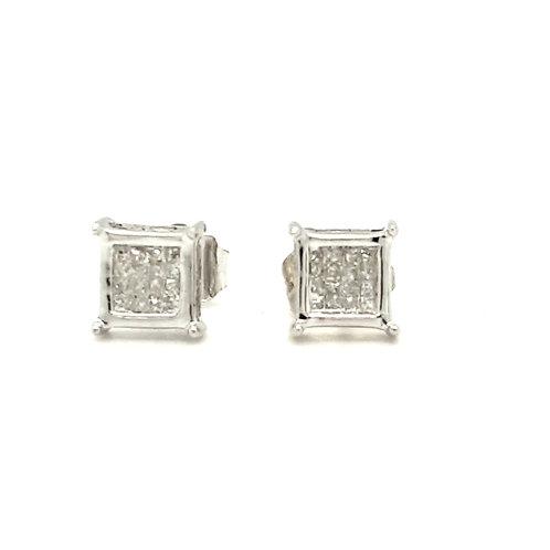Multistone Princess Cut Diamond Earrings 9ct Gold