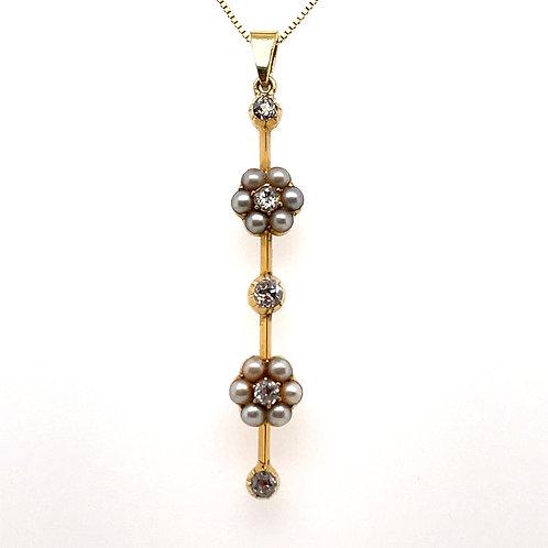 Antique Diamond & Pearl Pendant 18ct Yellow Gold