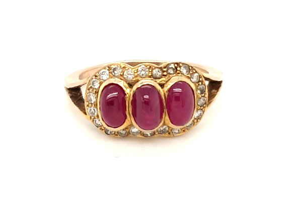 18ct Yellow Gold Cabochon Ruby and Diamond Ring