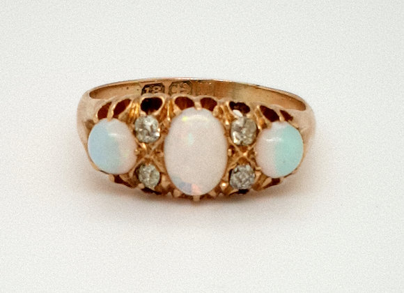 Opal and Diamond Victorian 18ct Ring