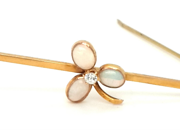 Opal and Diamond Edwardian Brooch 18ct Gold