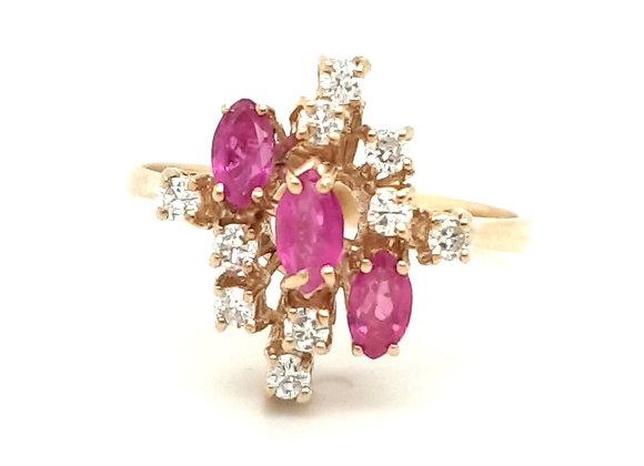 Unusual Bespoke 18ct Ruby and Diamond Cluster Ring