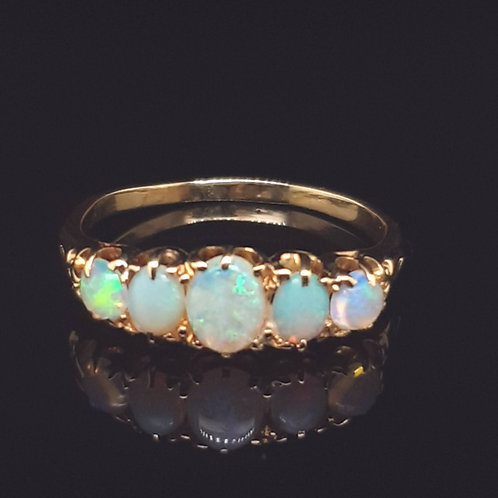 Opal and Diamond Five Stone Ring 18ct Yellow Gold