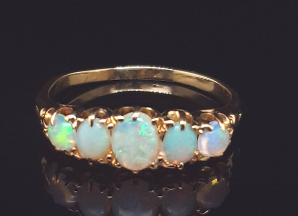 Opal and Diamond Five Stone Ring