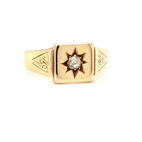 Genuine Antique Victorian Diamond Set Signet Ring set in 9ct Gold
