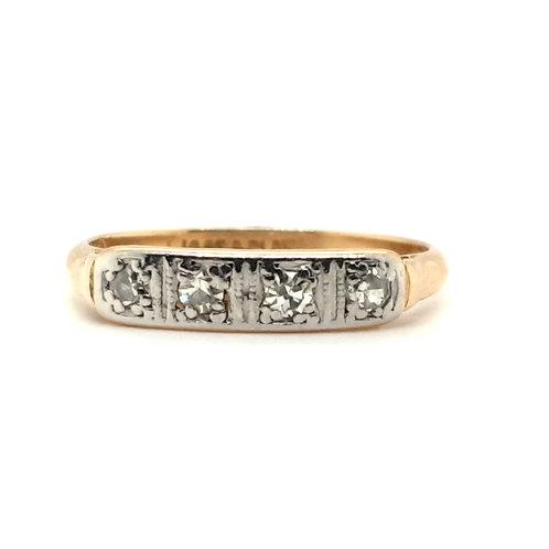 Art Deco Four Stone Diamond Ring 18ct & Platinum