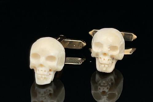 Skull Mammoth Bone Cufflinks in 9ct Gold