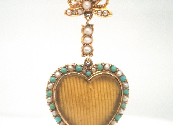 Turquoise & Pearl 15ct Gold Bow & Heart Pendant