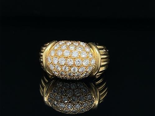 Diamond Bombe` Ring 18ct Yellow Gold