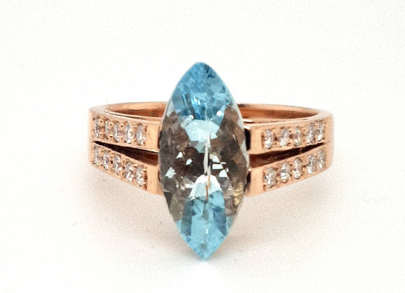 Aquamarine and Diamond Rose Gold Ring