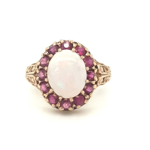Opal and Ruby Cluster Ring 9ct Gold