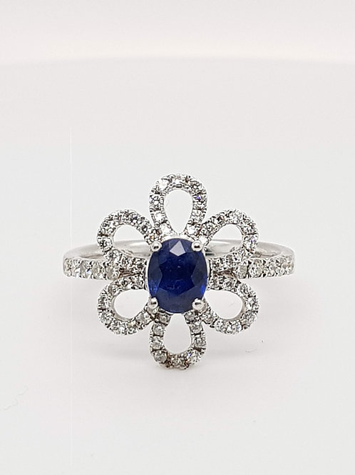 Sapphire & Diamond Floral Cluster Ring