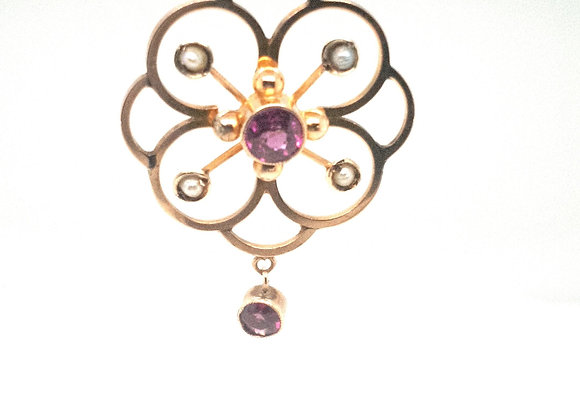 Almandine Garnet & Pearl Edwardian Pendant