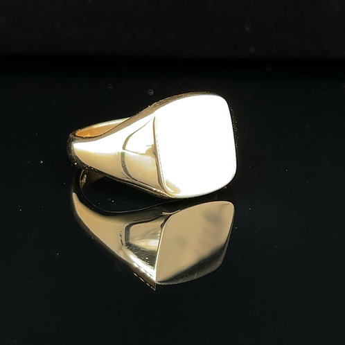 Heavy Cushion Shape Signet Ring set in 9ct Yellow Gold