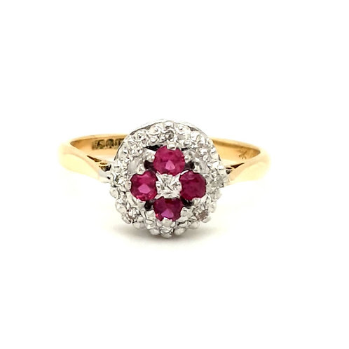 18ct Yellow Gold Ruby & Diamond Round Cluster Ring