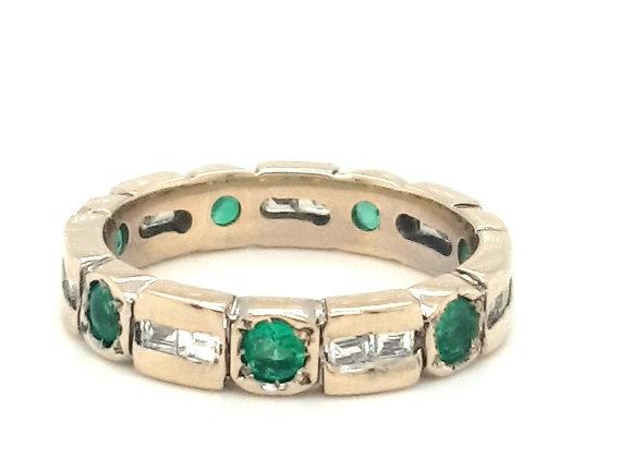18ct Yellow Gold Emerald & Baguette Diamond Full Eternity Ring