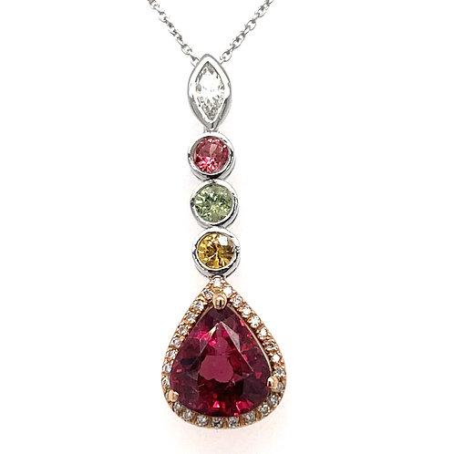 Tourmaline Sapphire and Diamond Pendant 18ct White Gold