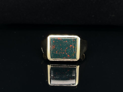 Rectangle Bloodstone Signet Ring 9ct Yellow Gold
