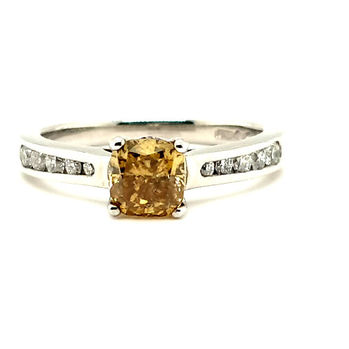 Vivid Yellow Diamond Ring Platinum  1.05 carat Total