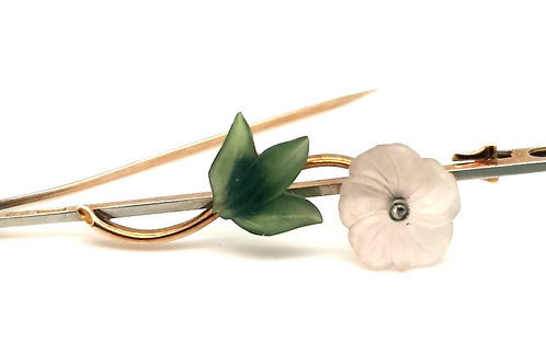 Austrian Rock Crystal Floral Brooch 15 / 18c t Yellow Gold