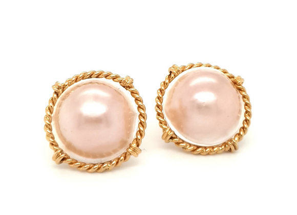 Mabe Pearl 1980s Statement Earrings 18ct Gold