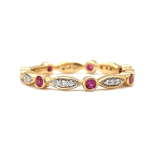 Fancy Ruby & Diamond Ring 18ct Yellow Gold