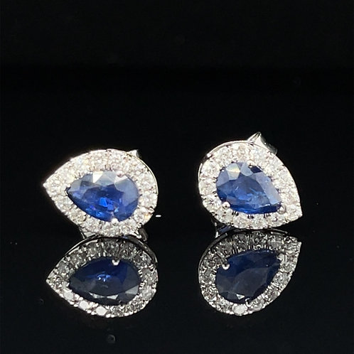 Sapphire and Diamond Halo Earrings 18ct White Gold