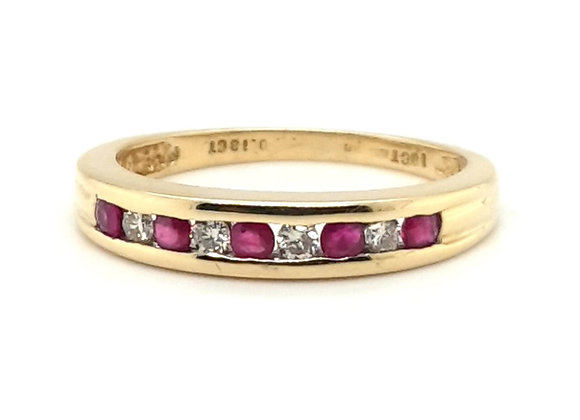 Ruby and Diamond Channel Set 18ct Yellow Gold