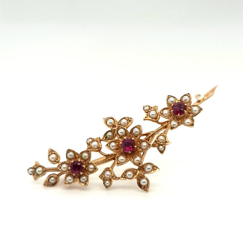 Edwardian Ruby and Pearl Floral Brooch 9ct Gold