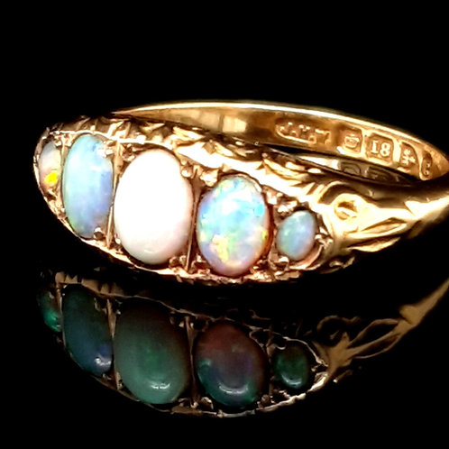 Antique Opal and Diamond Ring 18ct Yellow Gold