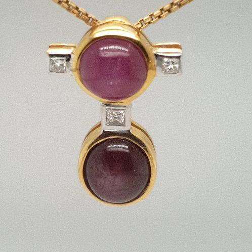 Star Rubie & Princess Cut Diamond 18ct Yellow Gold Bespoke Necklace Pendant