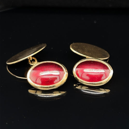 Cabochon Garnet Cufflinks 9ct Gold