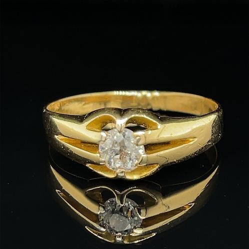 Gentlemans Claw Set Diamond Ring 18ct Yellow Gold