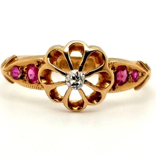 Victorian Ruby & Diamond Ring 18ct Gold