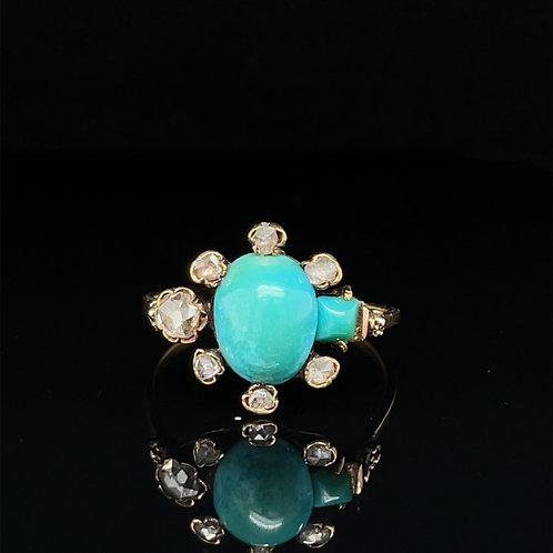 Antique Turquoise and Diamond Forget Me Not  Ring