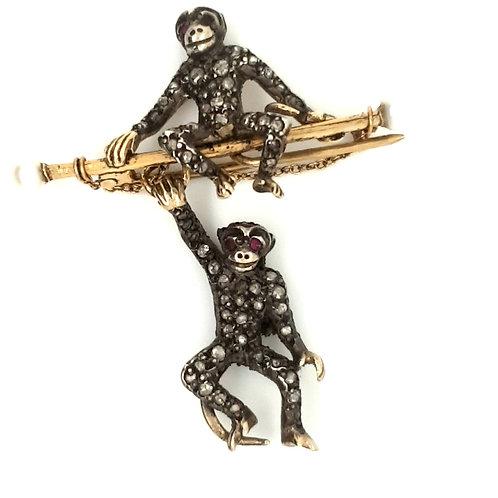 Antique Diamond Swinging Monkey Brooch