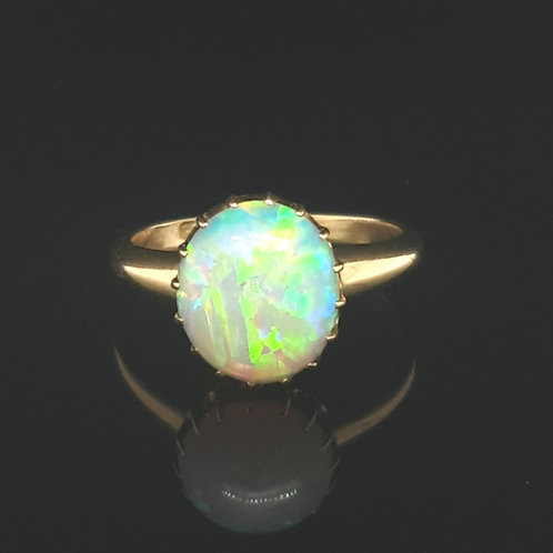 ANTIQUE EDWARDIAN LARGE NATURAL OVAL OPAL RING 18CT YELLOW GOLD - UK SIZE Q