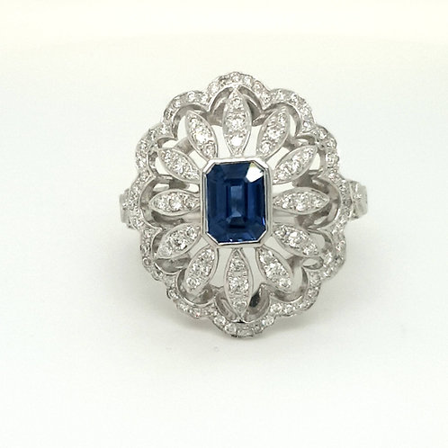 A Large Sapphire and Diamond Cluster Ring 18ct Gold