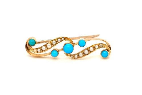 Edwardian Turquoise and Pearl Brooch 18ct Yellow Gold