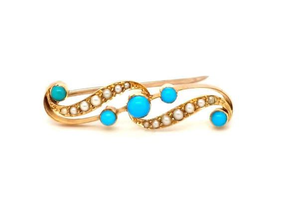 Turquoise and Pearl Brooch 18ct Gold