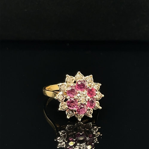 Ruby & Diamond Cluster Ring 9ct Yellow & White Gold