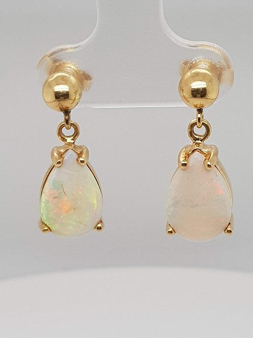 Opal Pear Shape Drop Earrings 14ct