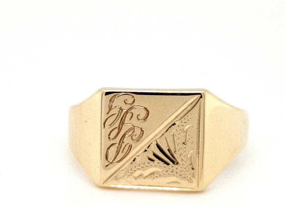 Square Engraved 9ct Yellow Gold Signet Ring