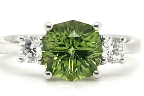 Peridot and Diamond Ring 18ct White Gold