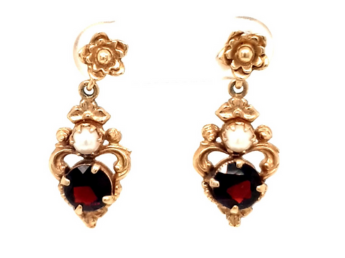 Garnet and Pearl Earrings 9ct Yellow Gold