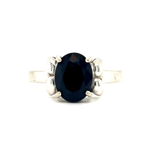 Oval Blue Sapphire Solitaire 18ct White Gold